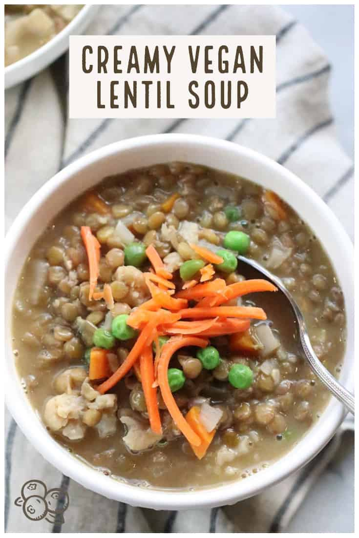 pinterest graphic for vegan lentil soup