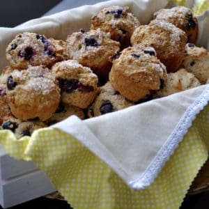Whip up these quick and tasty Vegan Blueberry almond Muffins!