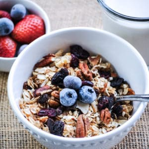 overhead shot of vegan granola in a white bowl with a garnish of blueberries