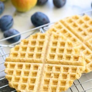 overhead shot of vegan waffles on a cooling rack