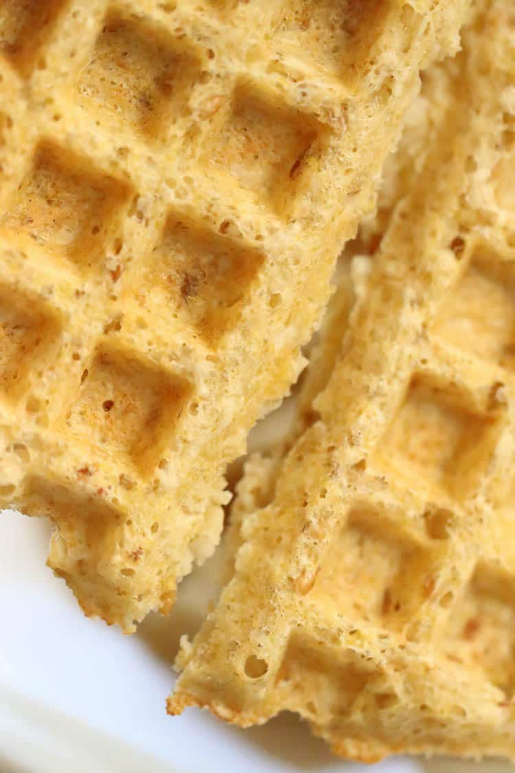 closeup side view of vegan waffles