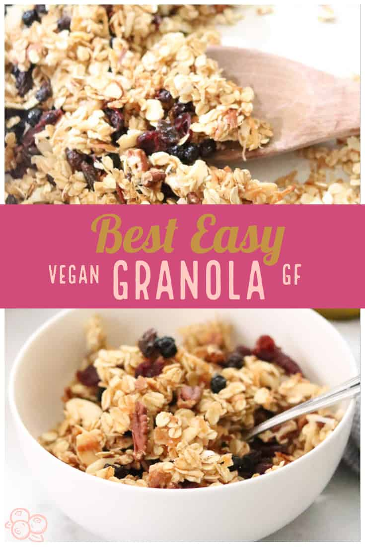 Truly amazing vegan granola that you can make in 30 minutes or less!  An all-time favorite with family and friends!  Tips on keeping those yummy crunchy clumps!  #vegangranola #granola