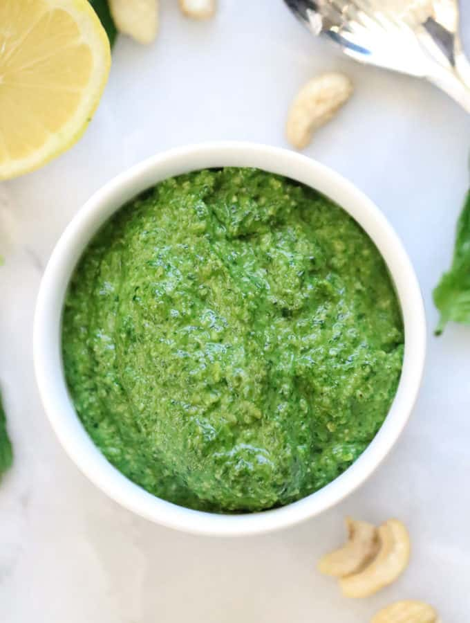 Vegan Spinach Pesto in a bowl.