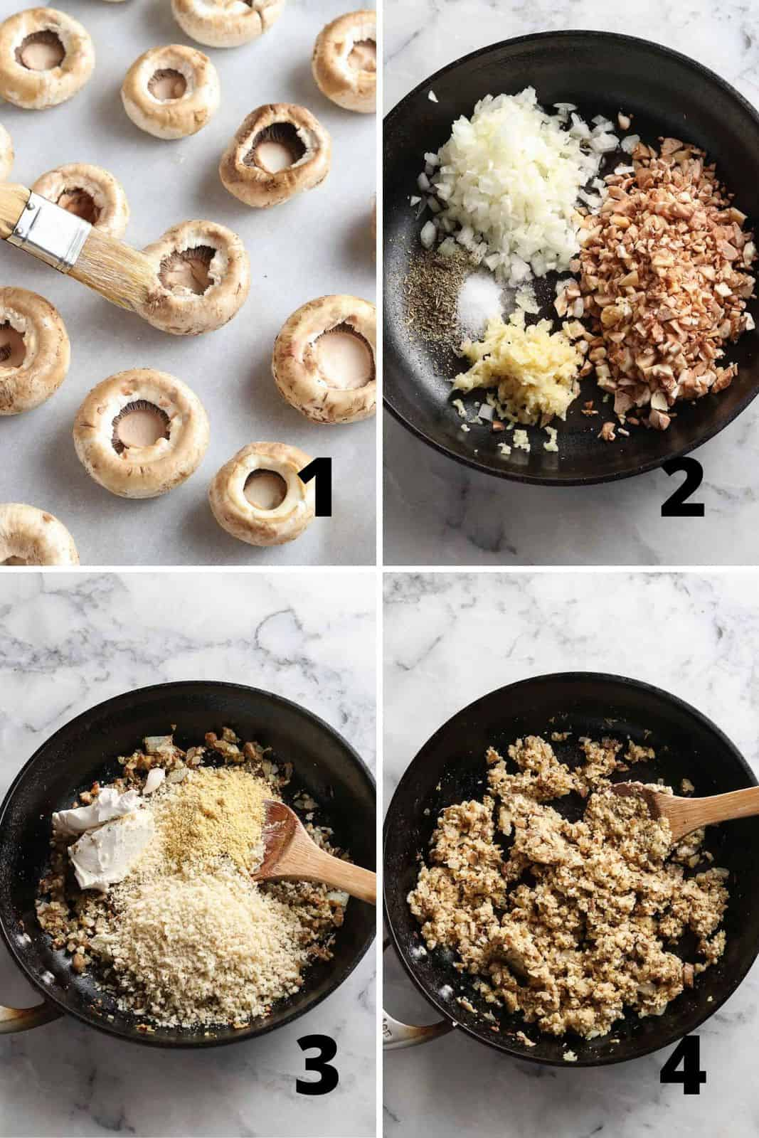 collage of four overhead photos showing prep process of mushrooms and filling