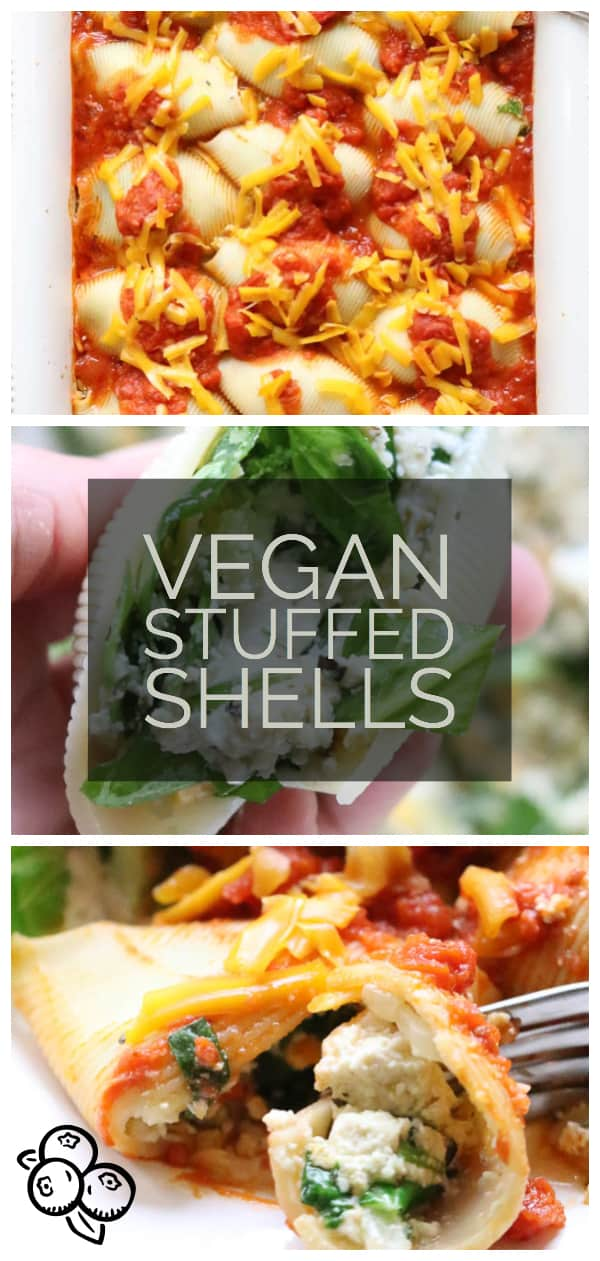 Quick and easy delicious Vegan Tofu-ricotta and spinach stuffed shells are a wonderful week-day meal or make-ahead special occasion dinner!  #veganentree #easyveganmeal #veganricotta