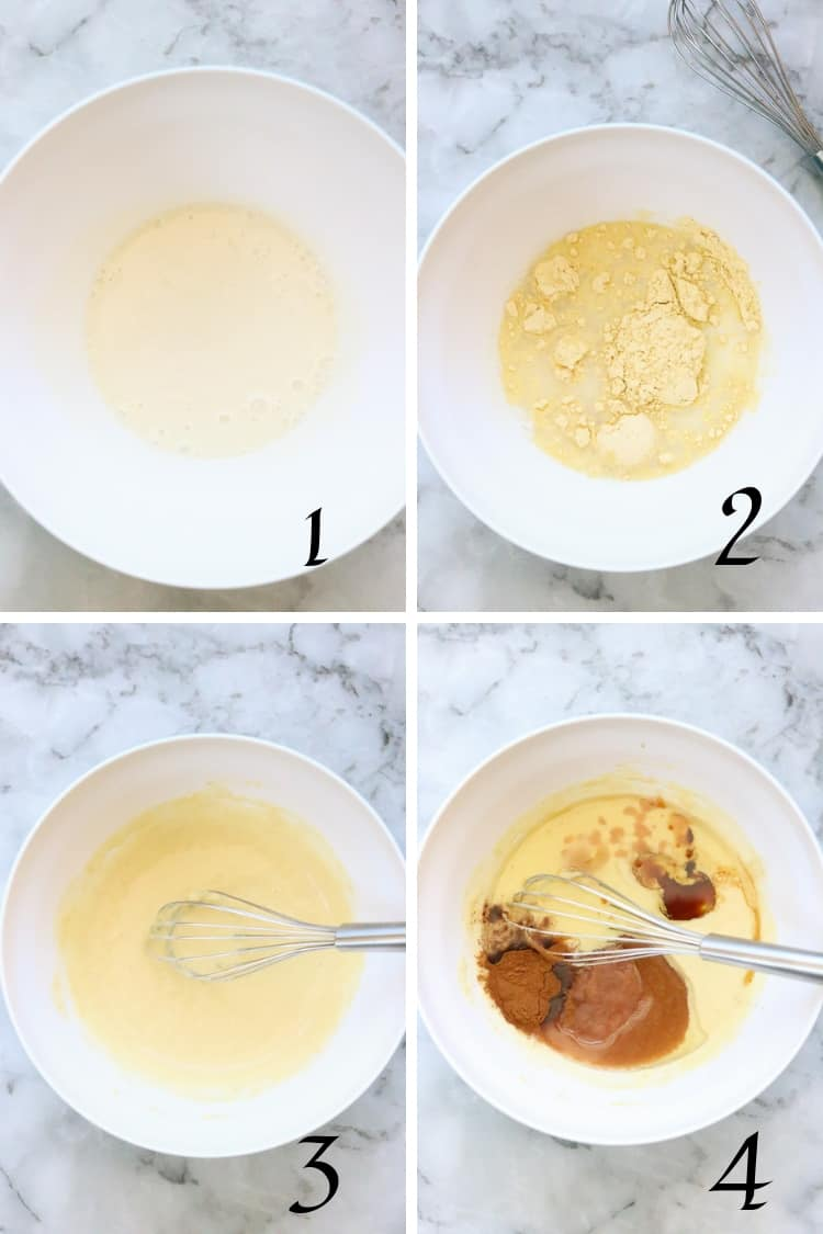 four process shots of vegan carrot cake recipe steps