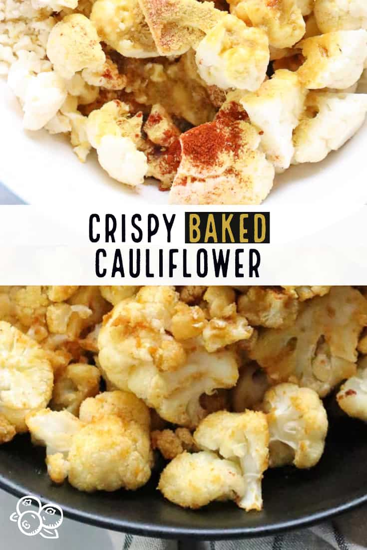 Naturally vegan, this yummy baked cauliflower is seasoned with smoked paprika and nutritional yeast flakes for a slight smoky and 'cheesy' flavor!  Everyone's favorite side dish! #bakedcauliflower #vegansidedish #easyvegan