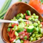Cucumbers, Tomatoes, Green Onion, with Edamame in this light a bright summer salad!