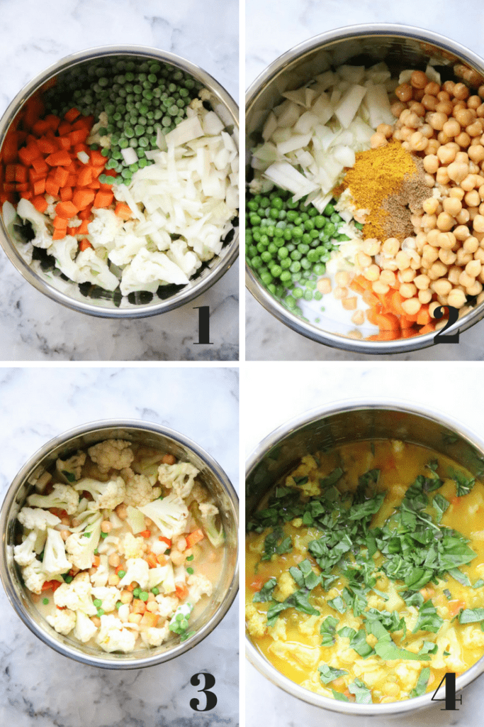 Vegan Chickpea and Cauliflower process shots in silver instant pot bowl.