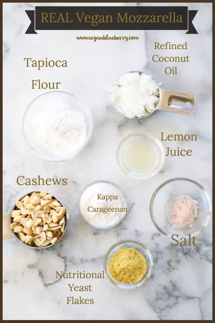 overhead view of ingredients to make vegan mozzarella including coconut oil, tapioca flour, cashews, and nutritional yeast flakes