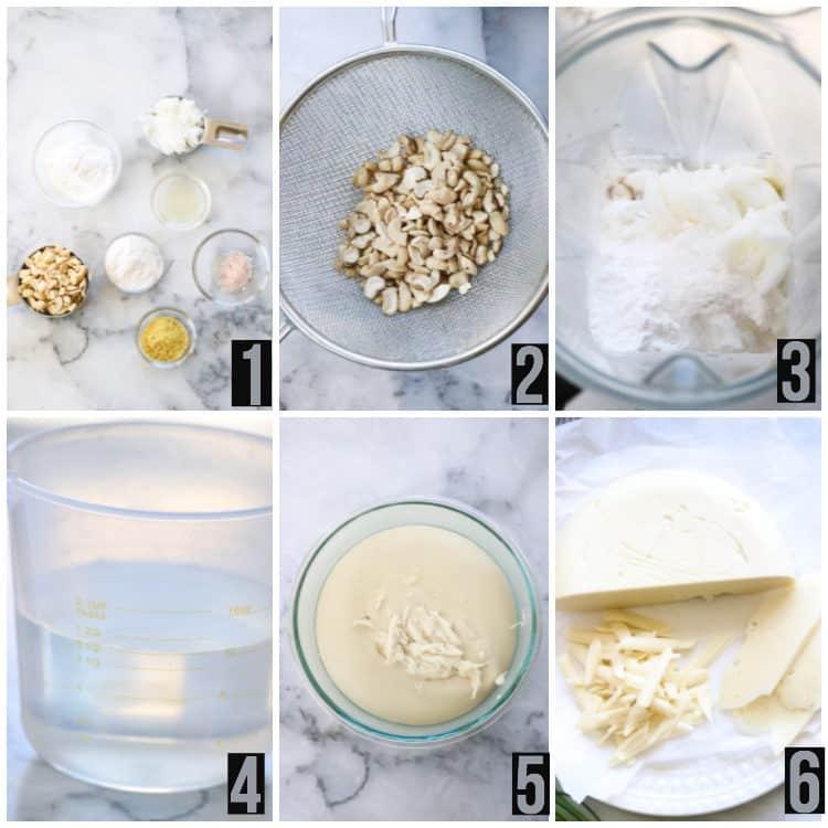 Six Numbered views of steps to make Vegan Mozzarella Cheese