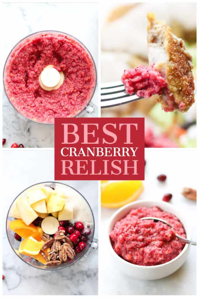 overhead shots with text of cranberry relish for pinterest