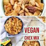 pinterest graphic for vegan Chex mix