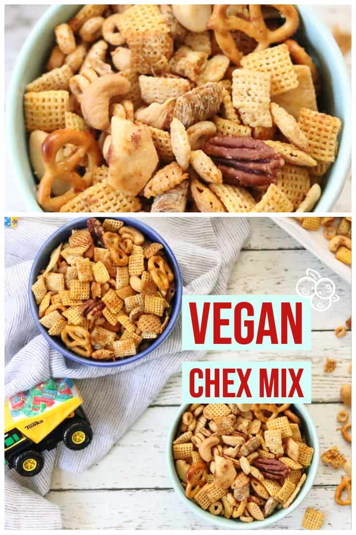 Make your own delicious homemade vegan Worcestershire sauce as a part of this vegan chex mix recipe!! This vegan Chex mix is slightly tangy, a tiny bit spicy, and totally irresistible to everyone - kids and adults alike!!  #veganchexmix #vegan party mix