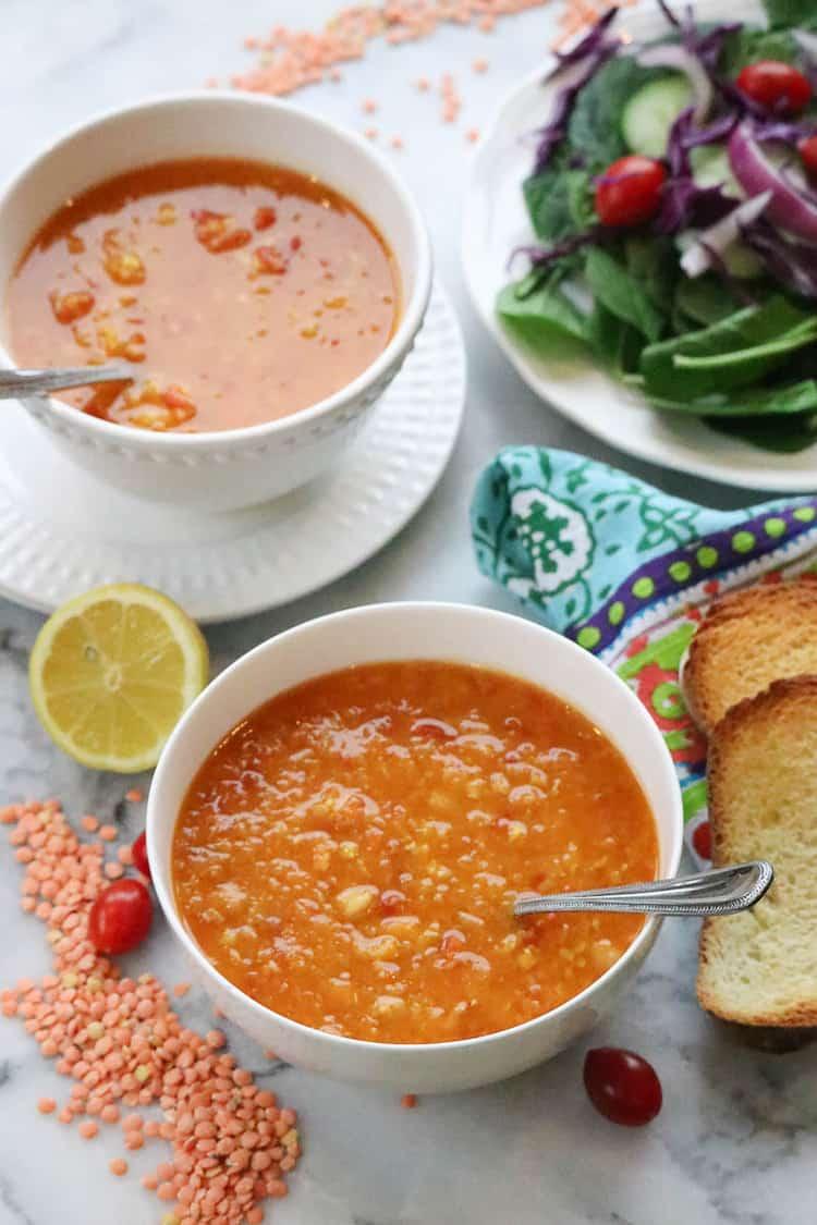 overhead shot of mediterranean style red lentil soup