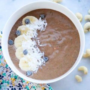 Cocoa-Banana-Cashew Chia Seed Pudding