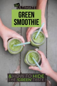 overhead shot of three green smoothies in jars with text overlay on photo for pinterest graphic