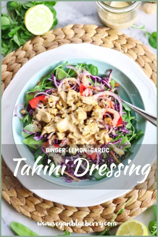 Amazing Tahini Dressing over Chopped Salad and Sautéed Tofu #eatfresh #quicksalad #vegandressing