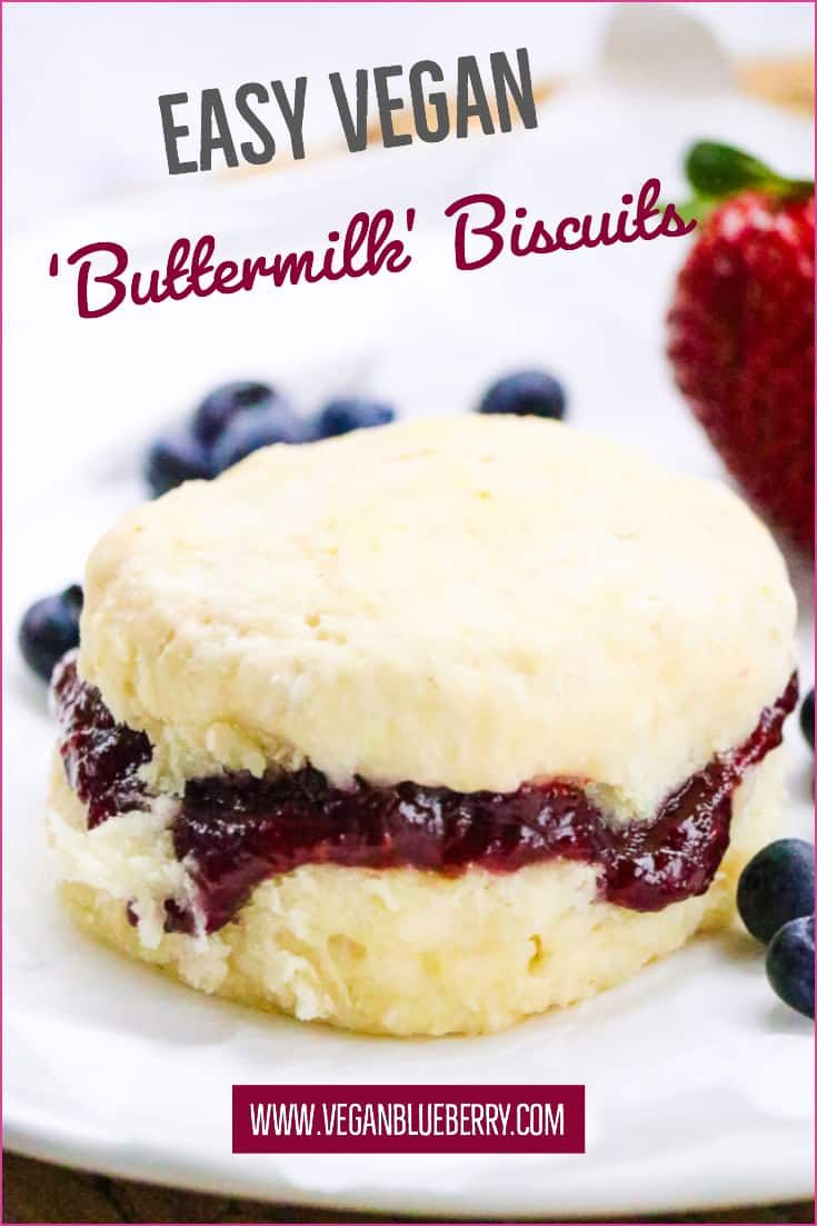 side overhead shot of vegan biscuits with text overlay for pinterest