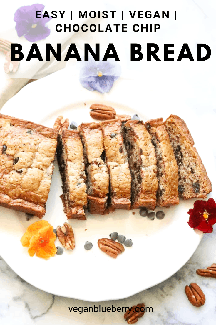 vegan banana bread sliced on a plate with text overlay for pinterest