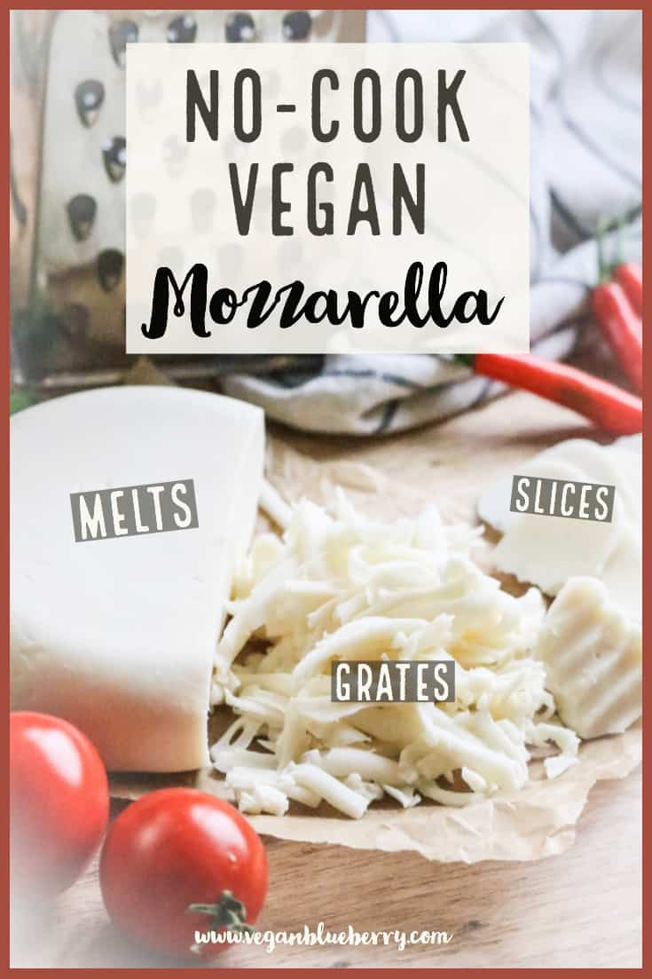 Make your own UNBELIEVABLE vegan mozzarella in a blender with this quick and easy vegan cheese recipe! It slices, melts and shreds! #vegancheese #veganmozzarella