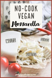 side overhead shot of vegan mozzarella with text overlay for pinterest