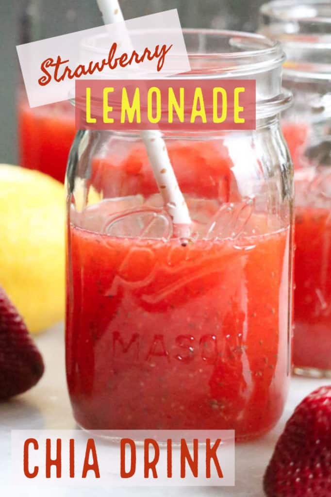 side shot of strawberry lemonade in a jar