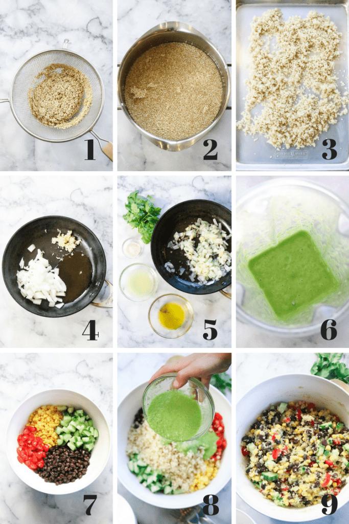 Process Shots for making vegan Mexican quinoa salad.