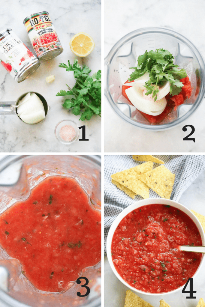 Making Perfect salsa broken down by steps