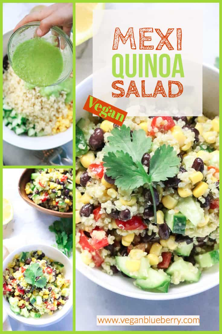 overhead shots of vegan mexican quinoa salad in a collage with text overlay for pinterest