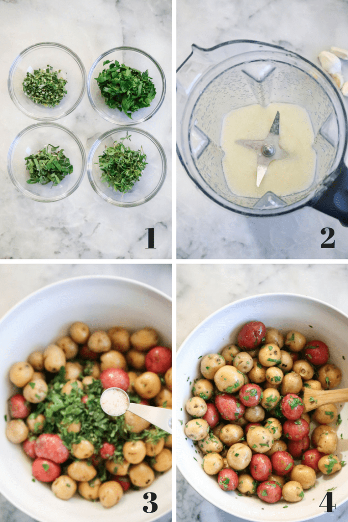 Process shots of Roasted Baby Potatoes