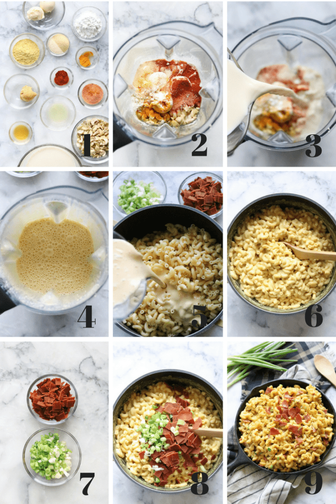 Nine numbered overhead photos in a collage to explain the process of making vegan mac and cheese
