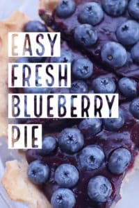 Closeup overhead view of easy fresh blueberry pie