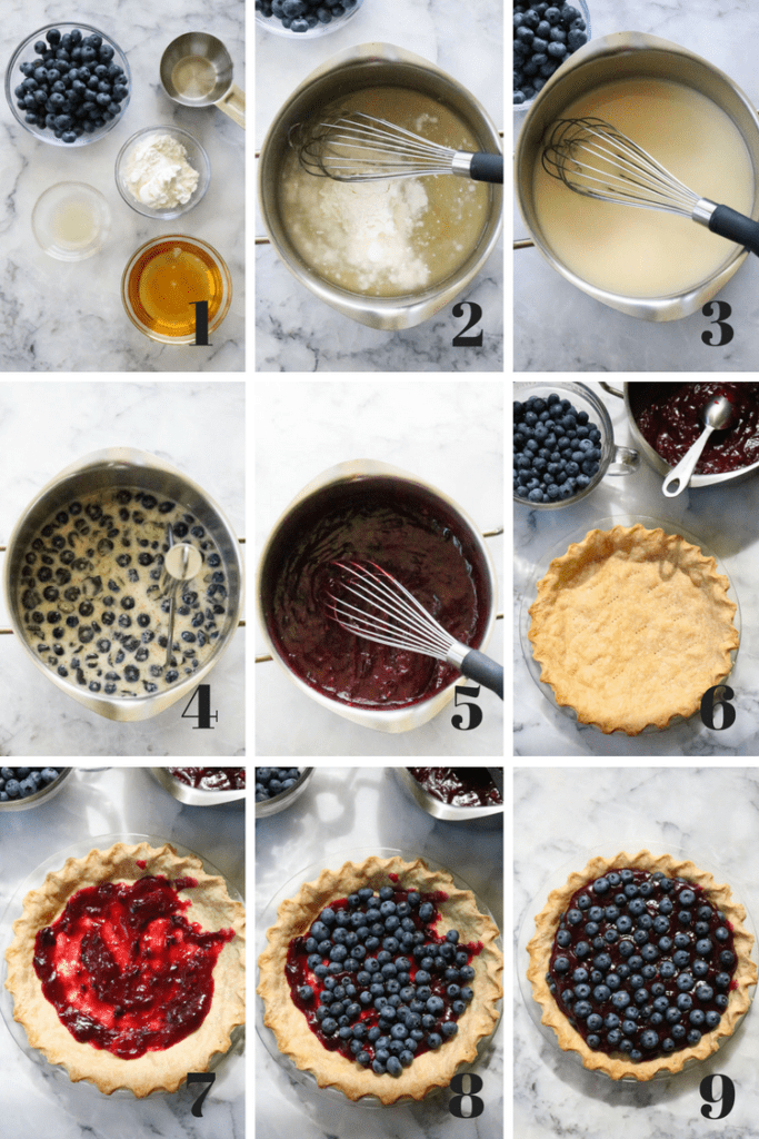 Process shots of how to make easy blueberry pie from ingredients to finish.
