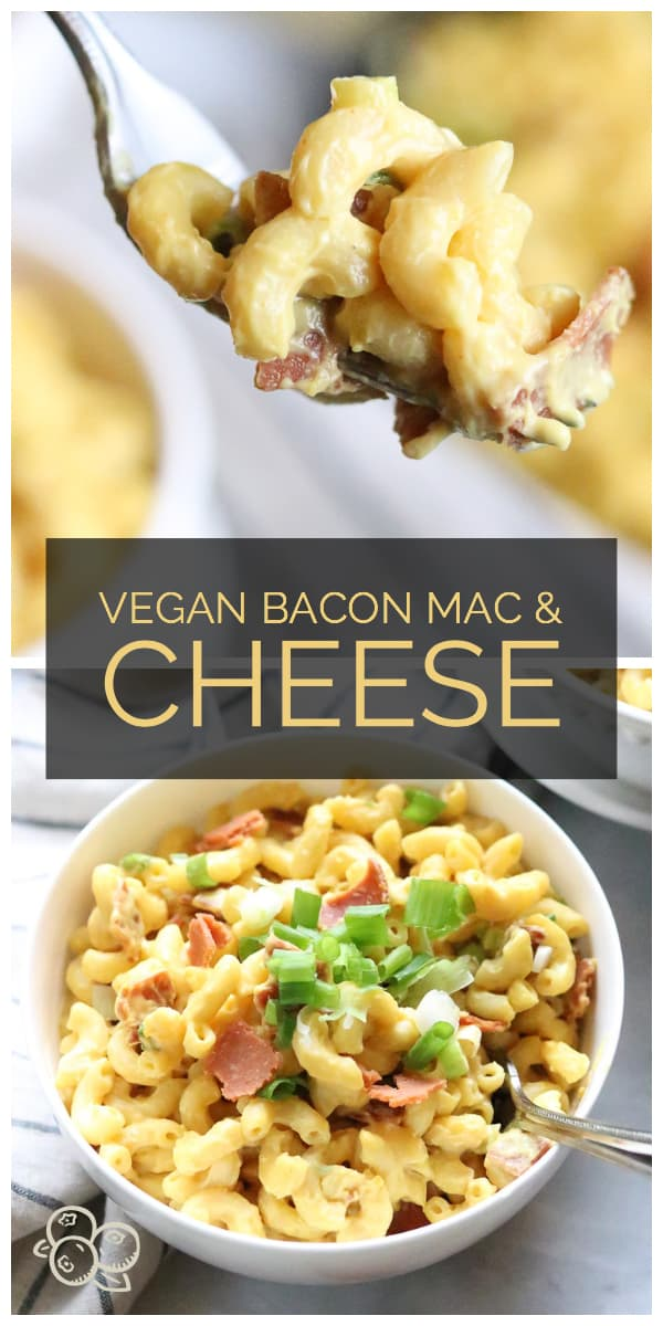 photo collage of vegan bacon mac and cheese for pinterest