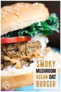 Pinterest graphic of vegan oat burger
