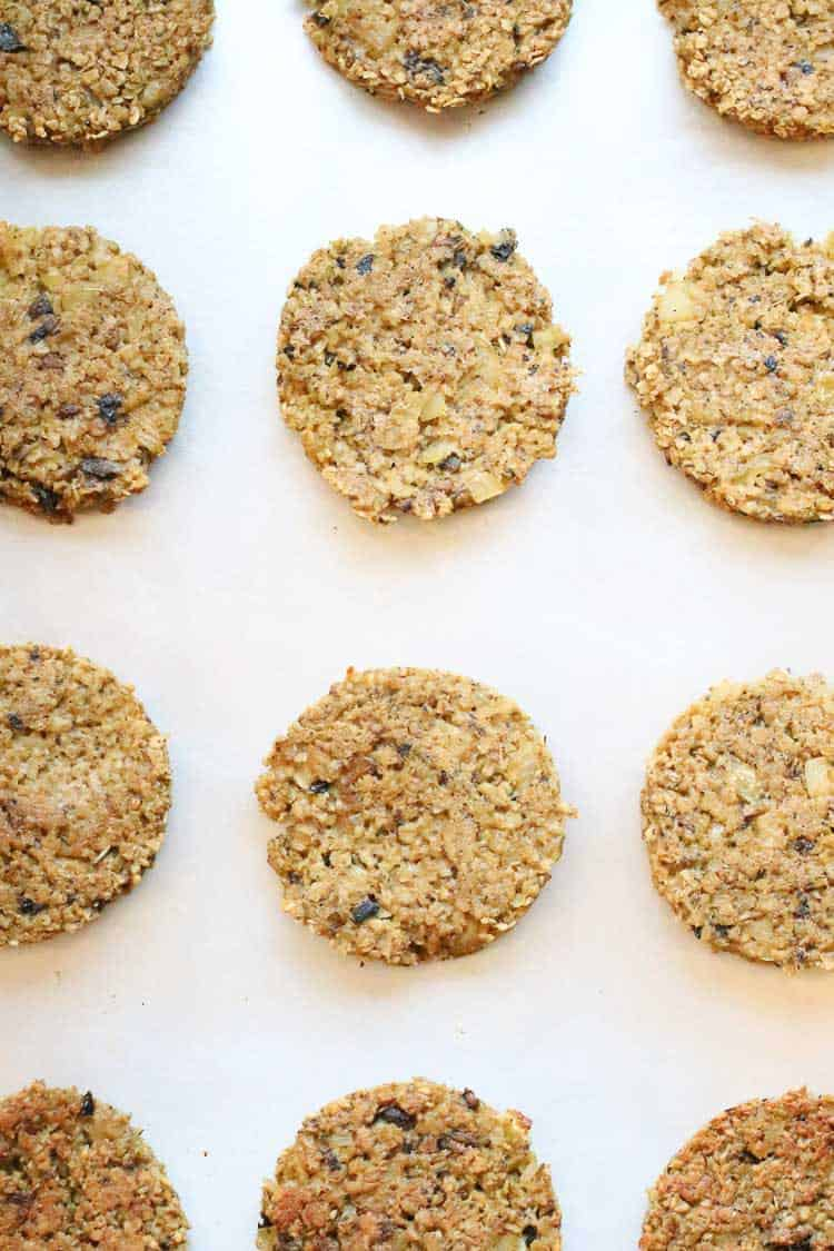 overhead shot of vegan oatmeal burgers on a tray