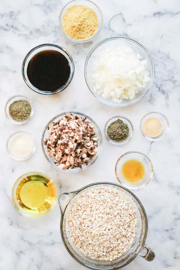Overhead shot of ingredients for vegan oatmeal burger