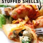 overhead closeup shot of vegan stuffed shells with text overlay for pinterest
