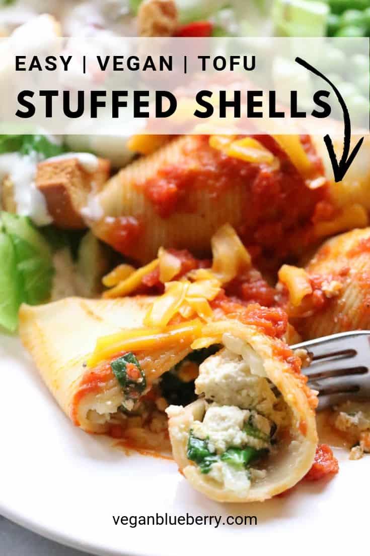 overhead closeup shot of vegan stuffed shells with text overlay for pinterest