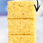 side shot of stacked vegan cornbread with text overlay for pinterest