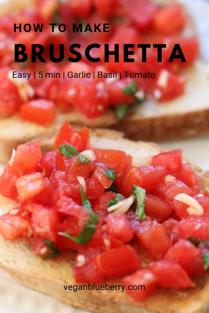 overhead closeup shot of bruschetta on bread with text overlay for pinterest