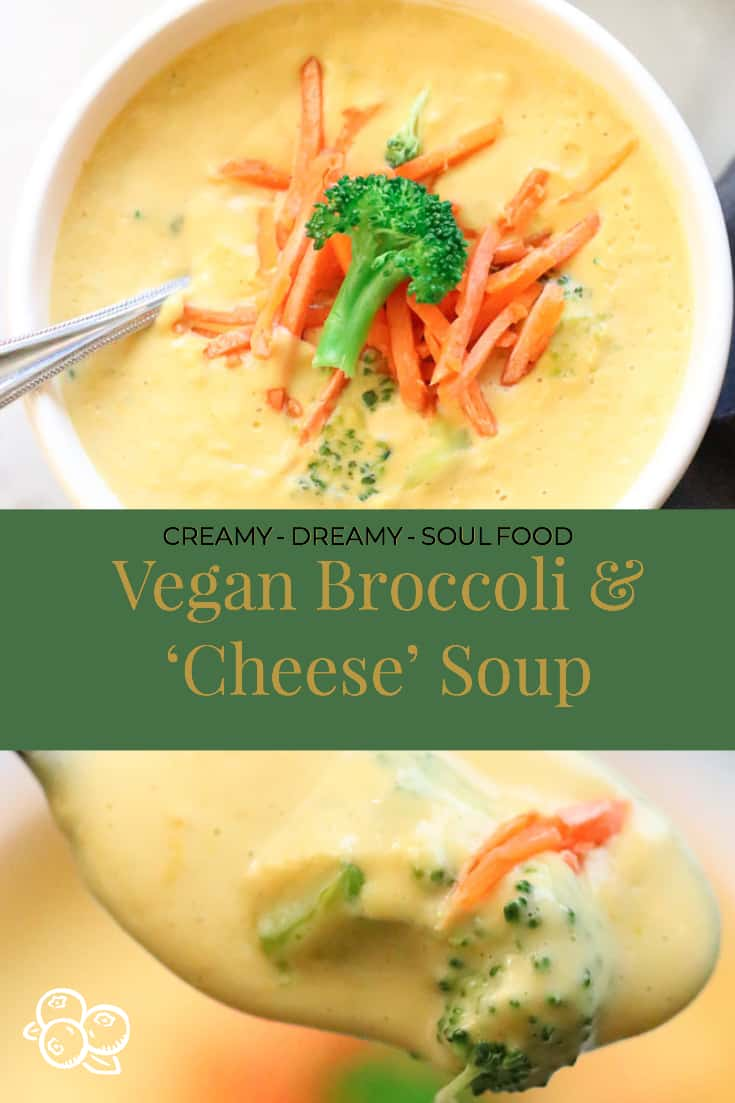 overhead shots of vegan broccoli and cheese soup with text overlay