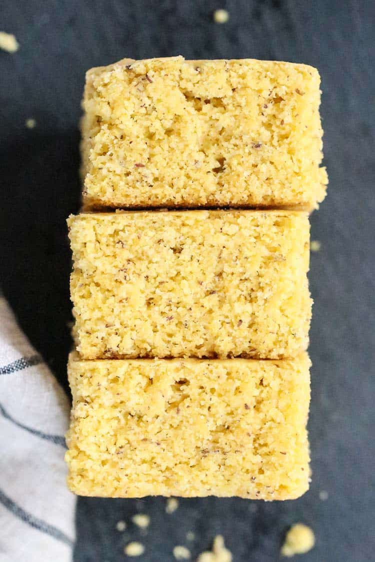 overhead view of vegan cornbread squares laid on their side
