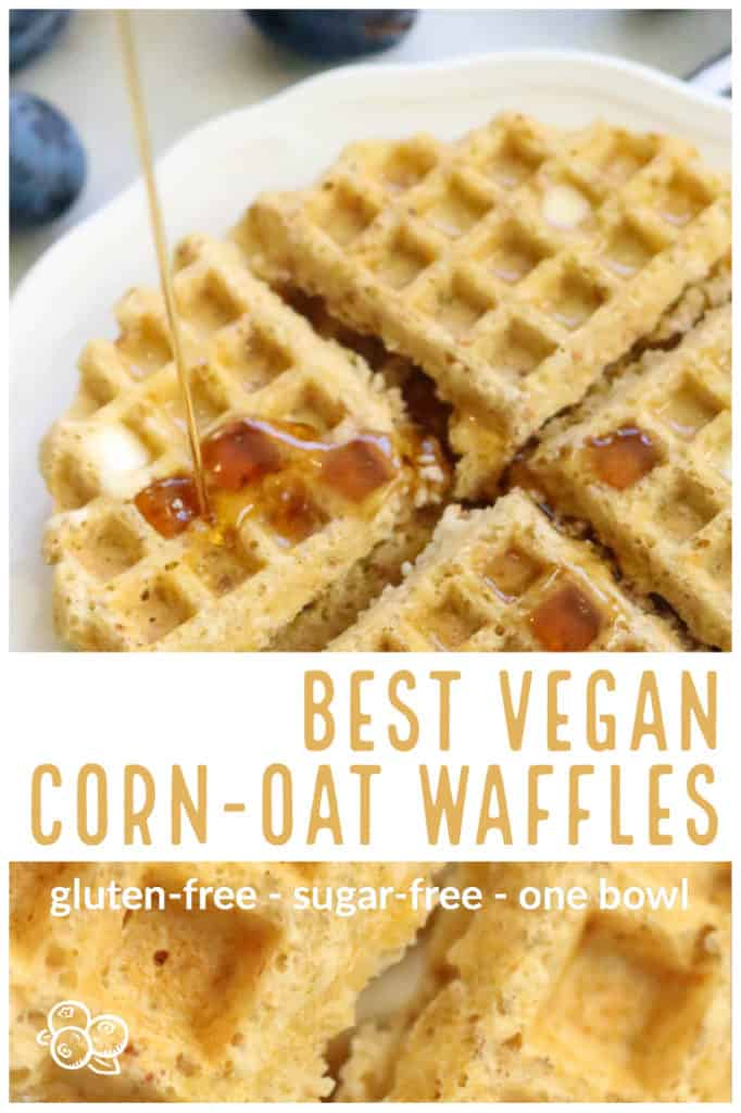 overhead and closeup shots of vegan waffles with text overlay