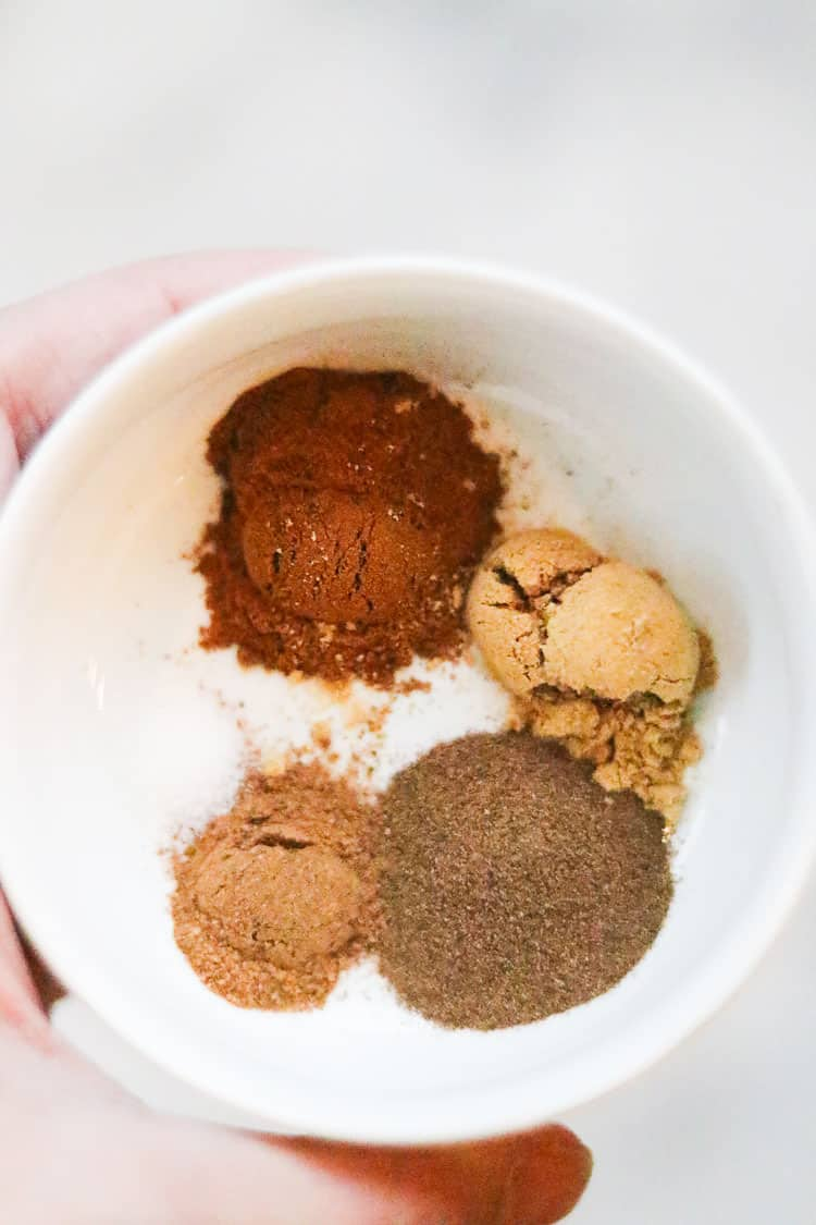 overhead view of measured spices for gingersnap bars