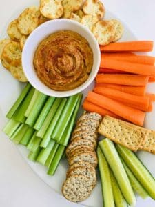 overhead shot of peanut butter hummus with veggies