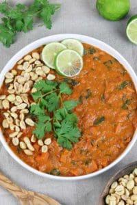 overhead shot of vegan peanut butter stew