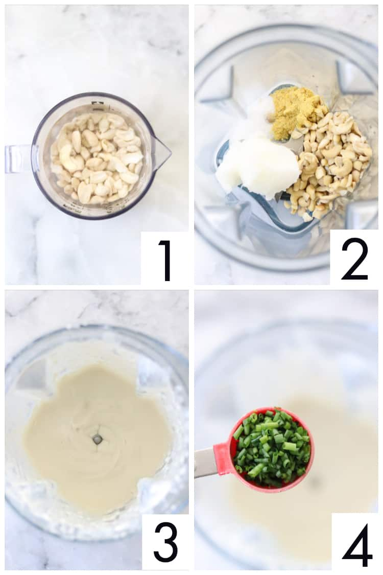 four overhead process shots of how to make a vegan cheese ball in a blender from soaking cashews to blending