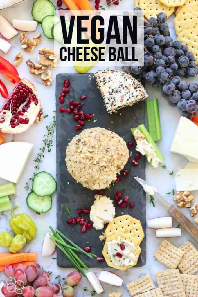 pinterest graphic for vegan cheese ball with text overlay